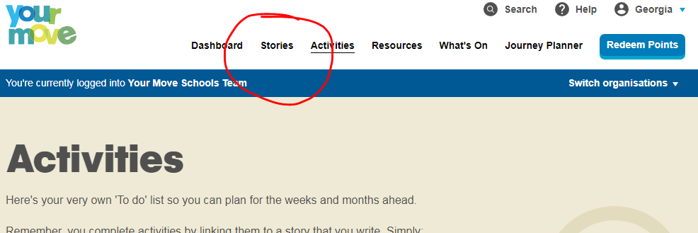 7.	Navigate to the Stories tab, at the top of the page and click on it.