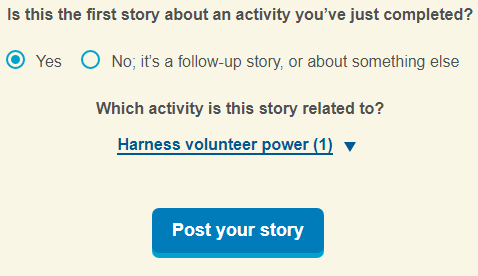 navigate to the bottom of the page and find the question Is this the first story about an activity you've just completed?